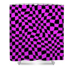 Violet Warped Polygons Shower Curtain by Daniel Hagerman