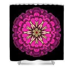Violet Zinnia Elegans Flower Mandala Shower Curtain by David J Bookbinder