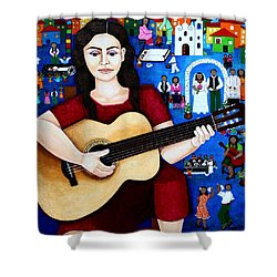 Violeta Parra And The Song Black Wedding Shower Curtain by Madalena Lobao-Tello