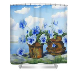 Violets On The Beach Shower Curtain by Veikko Suikkanen