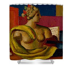 Violin And Bust Shower Curtain by Mark Gertler