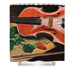 Violin And Rose Shower Curtain