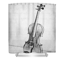 Violin In Black And White Shower Curtain