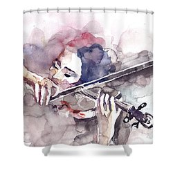 Shower Curtain featuring the painting Violin Prelude by Faruk Koksal