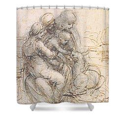 Virgin And Child With St. Anne Shower Curtain by Leonardo da Vinci
