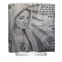 Virgin Mary With Flower Shower Curtain by Anthony Gonzalez