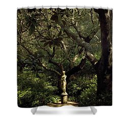 Shower Curtain featuring the photograph Virginia Dare Statue by Greg Reed