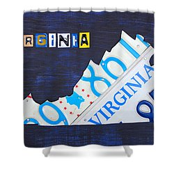 Virginia License Plate Map Art Shower Curtain by Design Turnpike