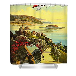 Visit Switzerland 1895 Shower Curtain by Mountain Dreams