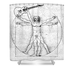 Vitruvian Guitar Man Bw Shower Curtain
