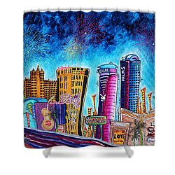 Viva Las Vegas A Fun And Funky Pop Art Painting Of The Vegas Skyline And Sign By Megan Duncanson Shower Curtain
