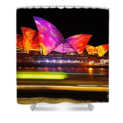 Vivid Sydney By Kaye Menner - Opera House ... Triangles Shower Curtain by Kaye Menner
