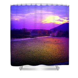 Vltava River Prague Sunset Shower Curtain