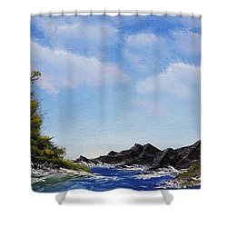 Volcanic Rock Lagoon Shower Curtain