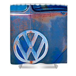 Volkswagen Vw Bus Emblem Shower Curtain by Jill Reger