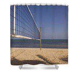 Vollyball Net On The Beach Shower Curtain