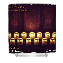 Votive Candles - Notre Dame Cathedral Shower Curtain by Anna Porter