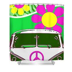 Vw Beach  Green Shower Curtain