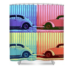 Vw Beetle Pop Art Quad Shower Curtain by Laura Fasulo