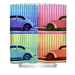 Vw Beetle Pop Art Quad Shower Curtain