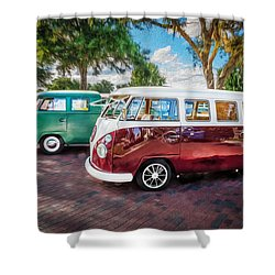 Vw Bus Stop 1964 1961 1968 Vans Trucks Painted Shower Curtain by Rich Franco