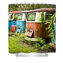 Vw Buses Shower Curtain by Carolyn Marshall