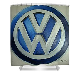 Vw Logo Blue Shower Curtain