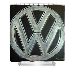 Vw Logo Chrome Shower Curtain