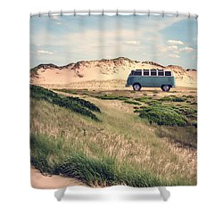 Vw Surfer Bus Out In The Sand Dunes Shower Curtain by Edward Fielding
