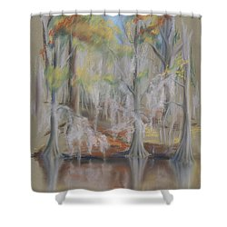 Shower Curtain featuring the pastel Waccamaw River Impressions by MM Anderson