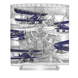 Wacos - Vintage Biplane Aviation Art With Color Shower Curtain