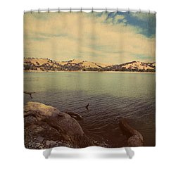 Wading Into The Cold Water Shower Curtain by Laurie Search