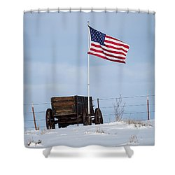 Wagon And Flag Shower Curtain