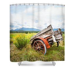 Shower Curtain featuring the photograph Wagon And Wildflowers - Vertical Composition by Gary Heller