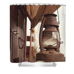 Wagon Lantern Shower Curtain by Toni Hopper