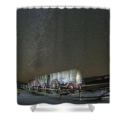 Wagon Train Under Night Sky Shower Curtain by Juli Scalzi