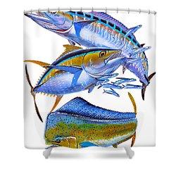 Wahoo Tuna Dolphin Shower Curtain by Carey Chen