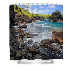 Waianapanapa Rocks Shower Curtain by Inge Johnsson