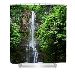 Waikani Falls At Wailua Maui Hawaii Shower Curtain by Connie Fox