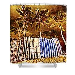 Waikiki Surf- Hawaii Shower Curtain by Douglas Barnard