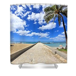 Waikiki Wall Shower Curtain by DJ Florek