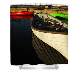 Waiting At The Dock Shower Curtain by Karol Livote