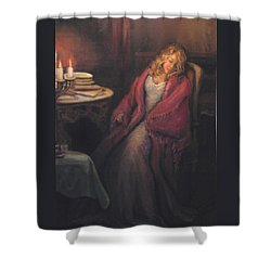 Shower Curtain featuring the painting Waiting by Donna Tucker