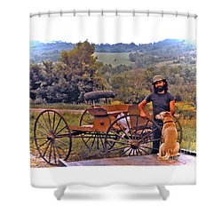 Waiting For A Lift On The Old Buckboard Shower Curtain by Patricia Keller