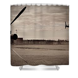 Waiting For Action Shower Curtain by Paul Job