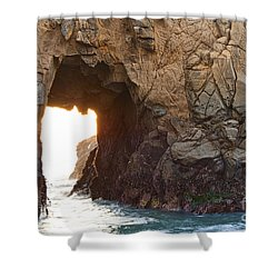 Waiting For Godot - Arch Rock In Pfeiffer Beach In Big Sur. Shower Curtain by Jamie Pham