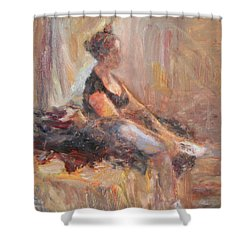 Waiting For Her Moment - Impressionist Oil Painting Shower Curtain