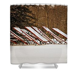 Waiting For Summer - Picnic Tables Shower Curtain by Mary Machare