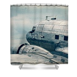 Waiting For Take Off Shower Curtain by Steven Bateson