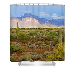 Shower Curtain featuring the photograph 16x20 Canvas - Superstition Mountain Light by Tam Ryan